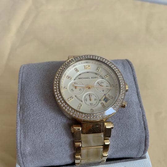 Michael Kors NWT Chronograph Parker Horn Acetate and Gold-Tone Watch MK5632 Image 5