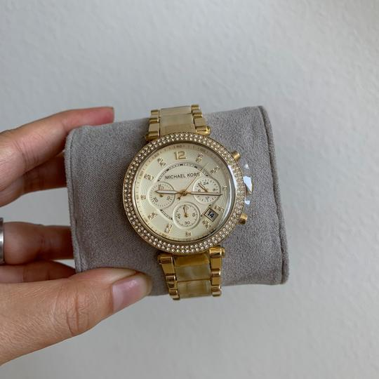 Michael Kors NWT Chronograph Parker Horn Acetate and Gold-Tone Watch MK5632 Image 6