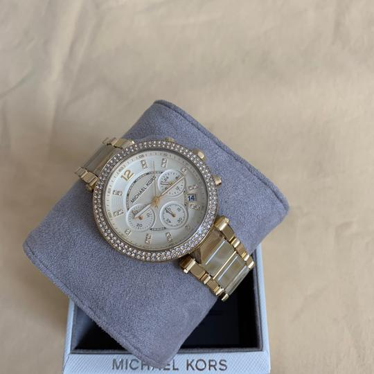 Michael Kors NWT Chronograph Parker Horn Acetate and Gold-Tone Watch MK5632 Image 9