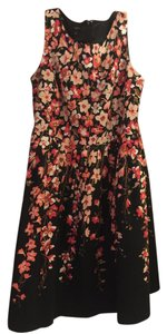 Talbots short dress Black with Coral flowers Linen on Tradesy