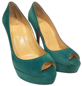 Christian Louboutin Suede Peep Toe Platform Pump Turquoise Green Pumps