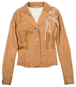John Galliano Leather Jacket Brown Blazer