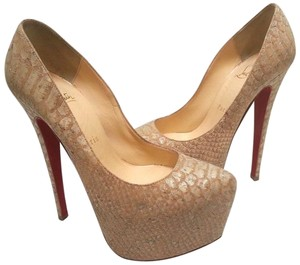 Christian Louboutin Snake Print Exotic Style tan Pumps