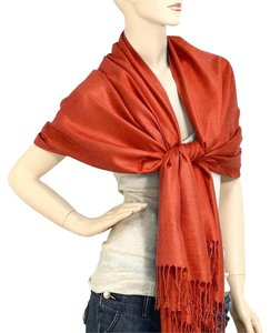 Other Pashmina Silk Scarf Wrap Shawl Fire Brick
