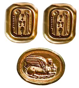 Carolee Vintate Carolee Gold Egyptian Motif Clip Back Earrings & Pin Set
