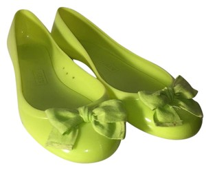 J.Crew Neon Bows Jelly Neon Yellow Flats