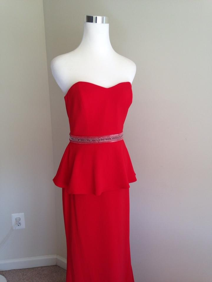 Badgley Mischka Red Strapless Peplum Gown Formal Dress Size 4 (S ...