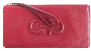 Salvatore Ferragamo Caviar Leather Wallet Mini Clutch Wristlet in Red