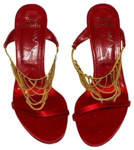 Rene Caovilla red / gold Pumps