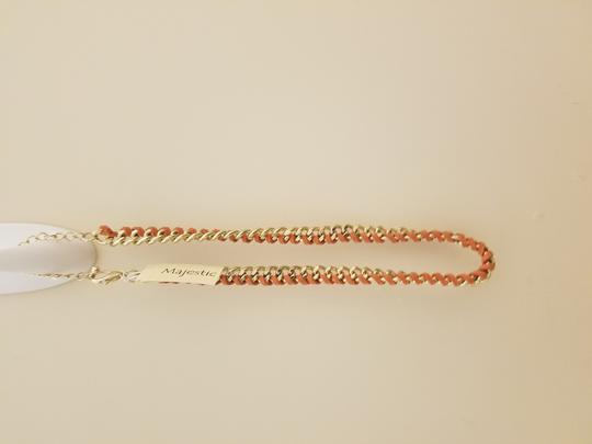Other Gold chain with leather trim. 20 inches in total length. Image 2