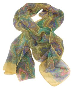 Albert Nipon Multi-Color Paisley Print Silk Scarf