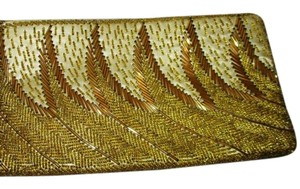 Wristlet Beaded Silk gold Clutch