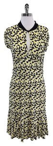 MILLY Yellow Black Print Silk Dress