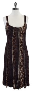 Blumarine Brown Cheetah Print Sleeveless Dress