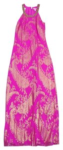 Maxi Dress by Lilly Pulitzer Fuchsia Gold Silk Sleeveless Maxi