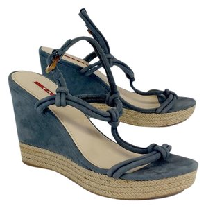Prada Grey Suede Platform Wedges