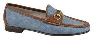 Gucci Womens 1953 Denim Horsebit Blue Flats