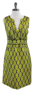 Kate Spade short dress Lime Green Black Print Silk Sleeveless on Tradesy