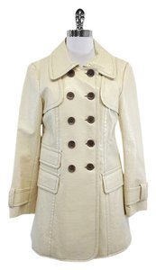 Nanette Lepore Cream Textured Long Peacoat Jacket