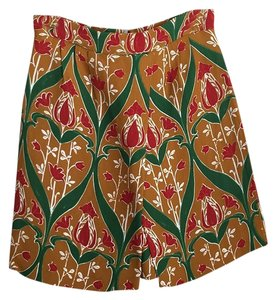 Prada Mini Skirt Beige with red and green pattern