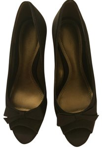 Ann Taylor Satin Heel Peep-toe Brown Formal