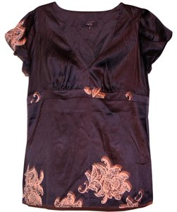 Express Kimono Evening Floral Top Black and silver