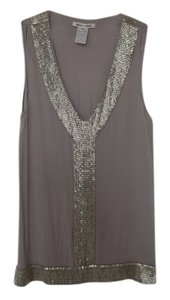 Alice + Olivia Beaded Silk Top Silver/Grey