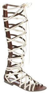 Steve Madden Leather Upper Back-zip Gold-toned Lace-up Front Gold Metallic Sandals