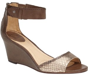 Frye Snakeskin Beach Ankle Strap Brown wedge and mint green flats Sandals