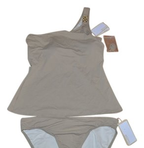 MICHAEL KORS NWT MICHAEL KORS WATCH BAND ONE SHOULDER TANKINI SWIMSUIT TWO PIECE L $132 KHAKI