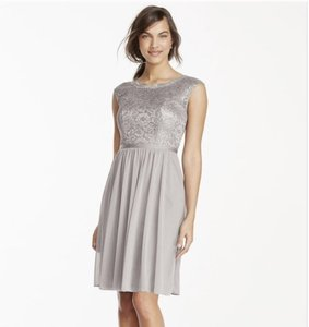 David's Bridal Silver Short Metallic Lace And Mesh Dress F17019m Dress