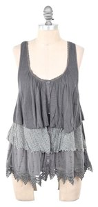 Free People Scoop Neck Mixed Media Lace Top Gray