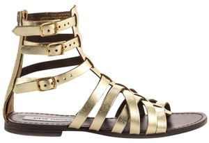 Steve Madden Gold-toned Gladiator Adjustable Straps Leather Upper Back Zip Gold Metallic Sandals