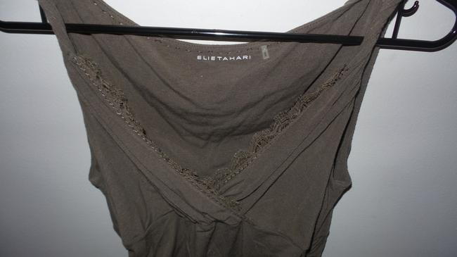 Elie Tahari V-neck Embroidered Soft Comfortable Casual Top Olive Green Image 3