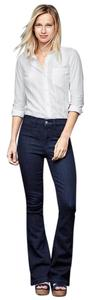 Gap 1969 Cotton Blend Denim Blue Flare Leg Jeans-Dark Rinse