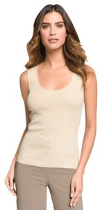 St. John New Ultra Fine Knit Rib Shell Scoop Neck Barley Medium Top Beige