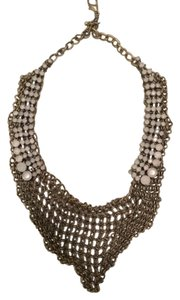 Banana Republic Banana Republic Mesh Statement Necklace with Accent White Gemstones