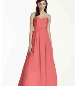 David's Bridal Coral Reef Satin Strapless Pleated Bridesmaid/Mob Dress Size 24 (Plus 2x)