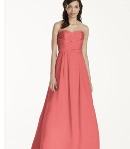 David's Bridal Coral Reef Satin Strapless Pleated Bridesmaid/Mob Dress Size 4 (S)
