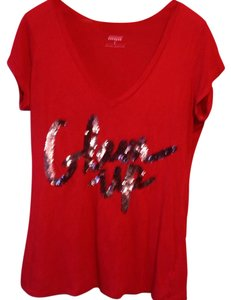 Express Sequin Flashy V-neck Sexy T Shirt Red