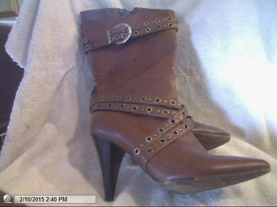 Other Studded Leather.4inch Heel Zipper Brown Boots