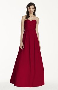 David's Bridal Red Wine Strapless Satin Pleated Bodice Ball Gown Dress