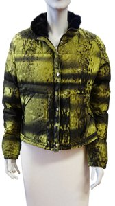 Prada Black Mink Fur Trim Green Print Down Nylon Jacket 48 Large Winter Ski Coat