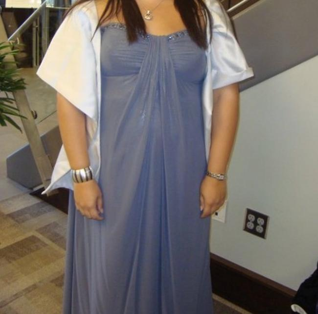 Item - Grey with Silver Shimmer Satin Strapless Formal Bridesmaid/Mob Dress Size 22 (Plus 2x)