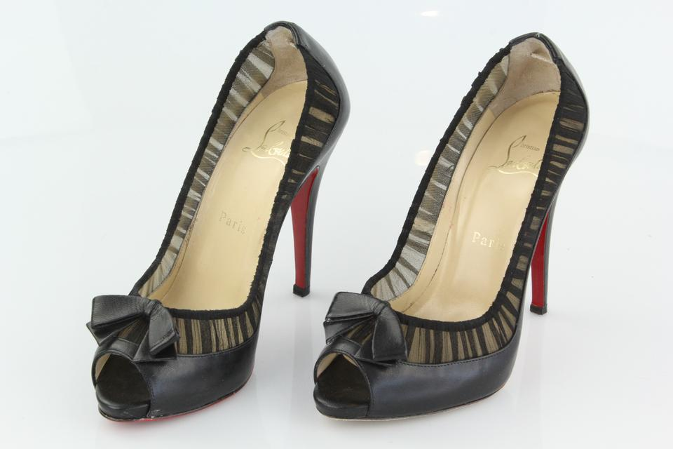 Louboutin Leather and Chiffon Pumps Black Toe Peep Angelique Christian dxwqSXd