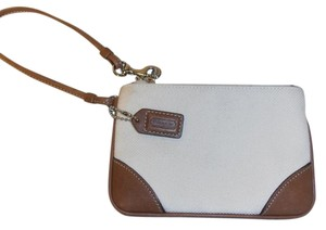 Coach Fabric Leather Tag Wristlet in off-white & brown trim