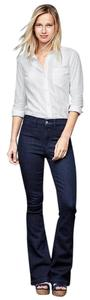 Gap 1969 Cotton Blend Denim Short Flare Leg Jeans-Dark Rinse
