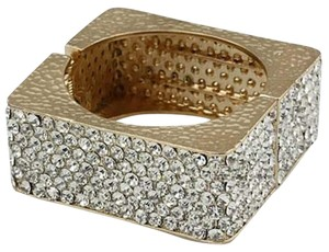 Rhinestone Crystal Gold Square Cuff Bracelet Bangle
