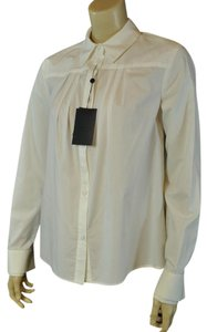 Pringle of Scotland Pleated Cotton Italian Button Down Shirt white