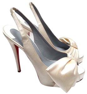 Christian Louboutin Bow Adornment Silk Satin Peep Toe 120mm Sling-back White Pearl Pumps
